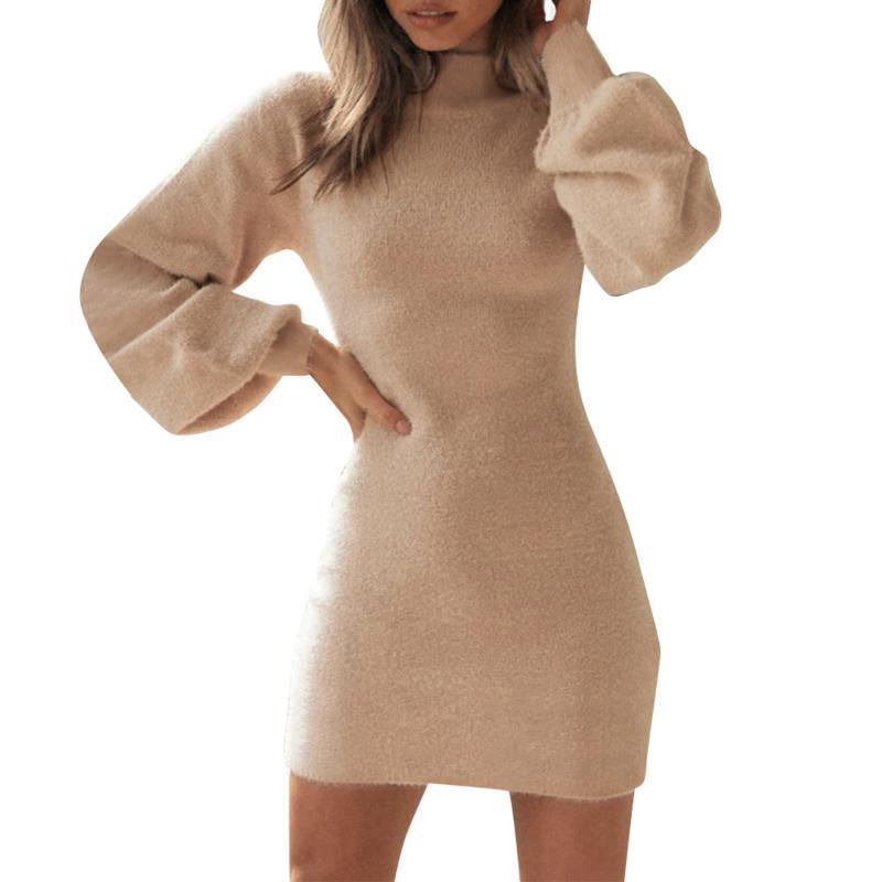 Casual Dresses Women Long Lantern Sleeve Solid Color Dress Ladies Autumn Winter Warm Slim Fit Short Mini