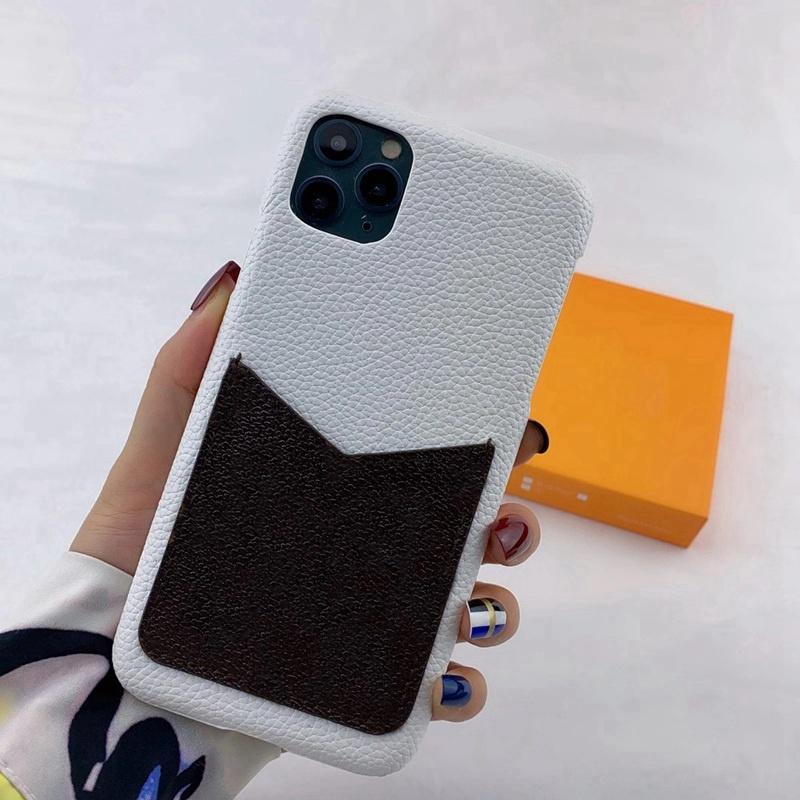 آيفون 11 12 برو ماكس xs xr xsmax 7 8 زائد حالات الهاتف ديلوكس الأزياء litchi القشرة الجلود بطاقة حامل جيب مصمم الهاتف المحمول حالة الغطاء