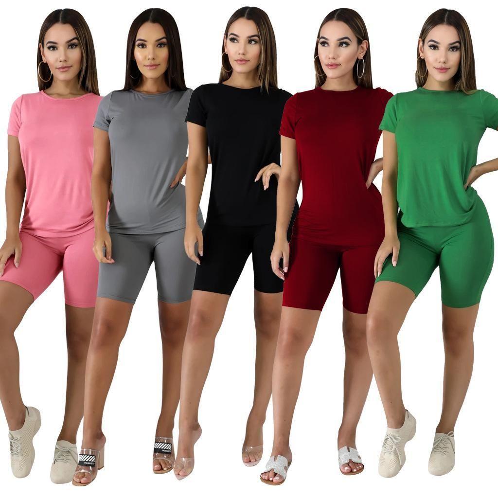 Frauen Outfits 2 Stück Set Trainingsanzug Casual Kurzarm Baumwolle Designer Sportswear Slim Hemd Hose Sport Anzüge Frauen Kleidung DHL