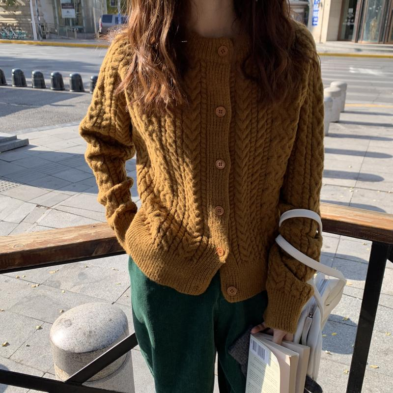 Nuevo Casual Casual de alta calidad Suelto Sólido Cardigans 2021 Chic Hot Fashion Warm Breve Twist Vintage Streetwear Todos los suéteres del partido 3HJ5