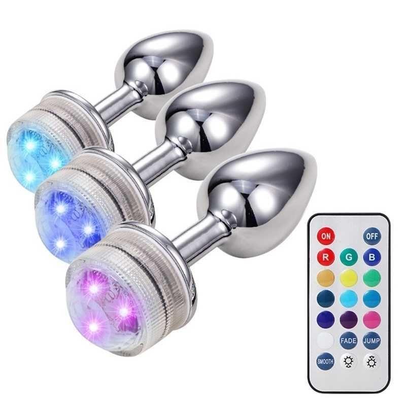 Zerosky Colorful LED Light Metal Plug Plug Masturbatore per adulti Anale Intimate Goods GIOCATTOLI EROTICHE VAGINA PRINCIA PRINCIA PRINCIA PRINCIA 210616