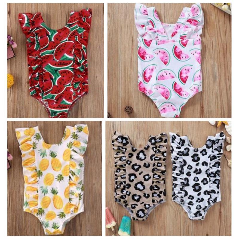 Baby Girls Swimwear Leopard Printed Toddler Beachwear Watermelon Pattern Bathing One Piece Bikini Ruffles Infant Swim Suit 5 Style BT1050