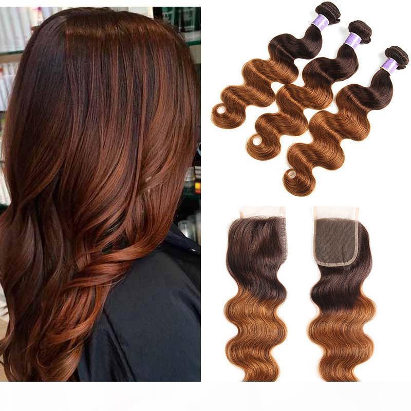 Цветные бразильские ommre темно-коричневые человеческие волосы 3 пакета с закрытием два тон бразильцы 4 30 # волна тела белокурые волосы плетение с закрытием