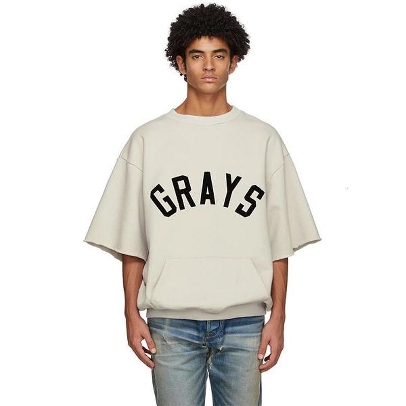 2021 Новая футболка сезон 7 серых бейсбол высокой улицы Kanye West Top Tee Streetwear Hip Hop Essensial футболка Seic
