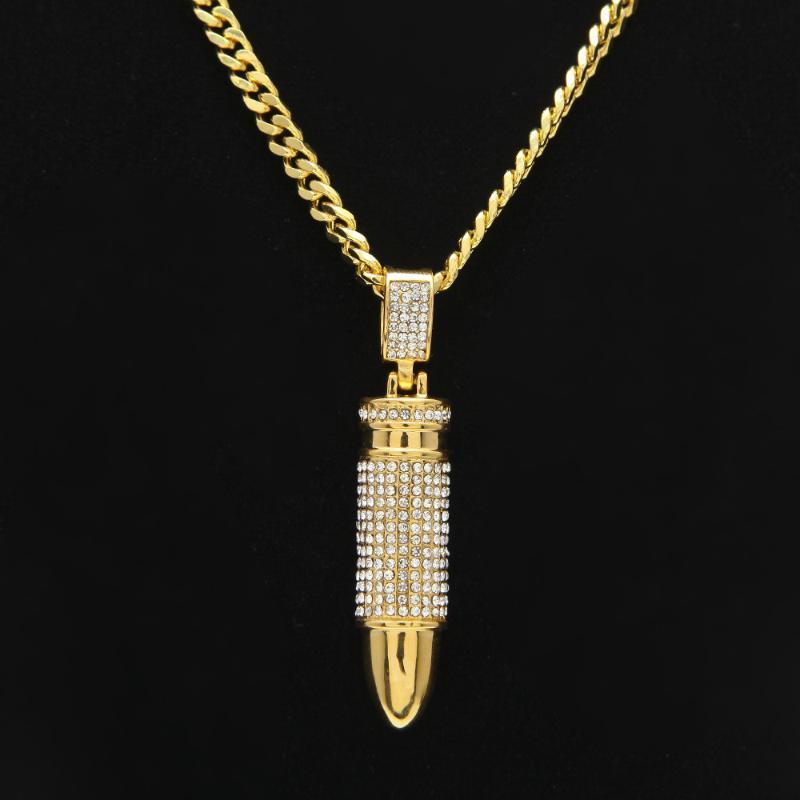 Collares colgantes Hombres helados con hielo, pistola de acero inoxidable Bling Cristal de piedra encanto Cadena de Cuba Larga para Mujeres Hip Hop Jewelry