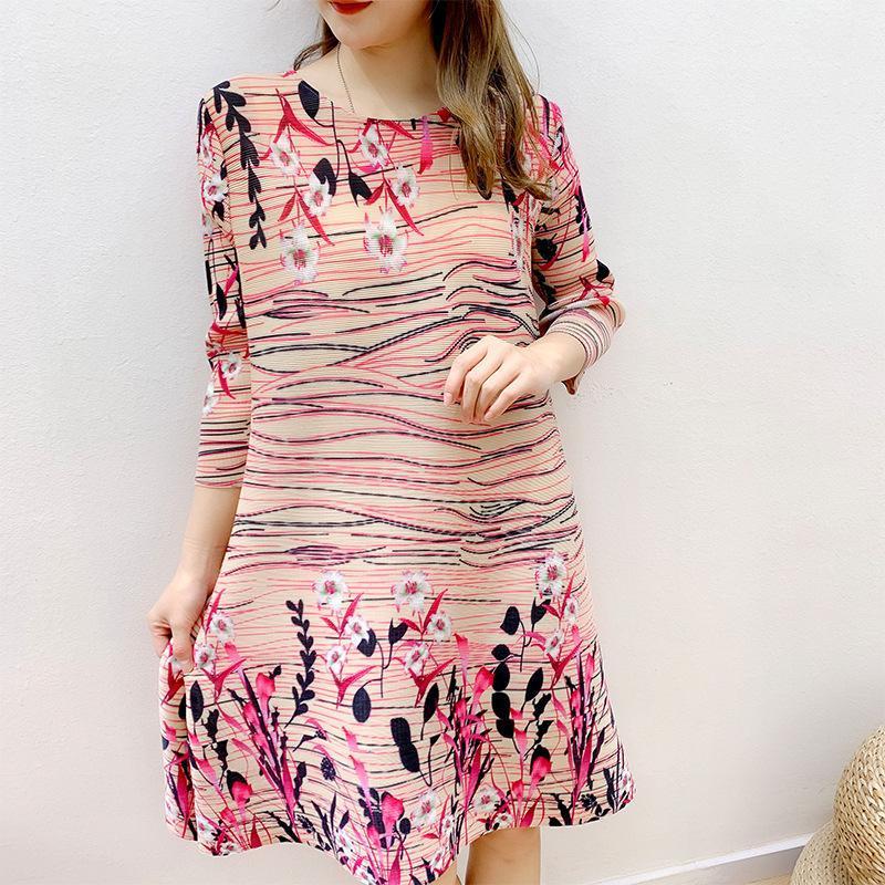 Superaen 2021 Весна Новый Национальный стиль плюс размер o Шея три четверти Печать а-линия платья для женщин