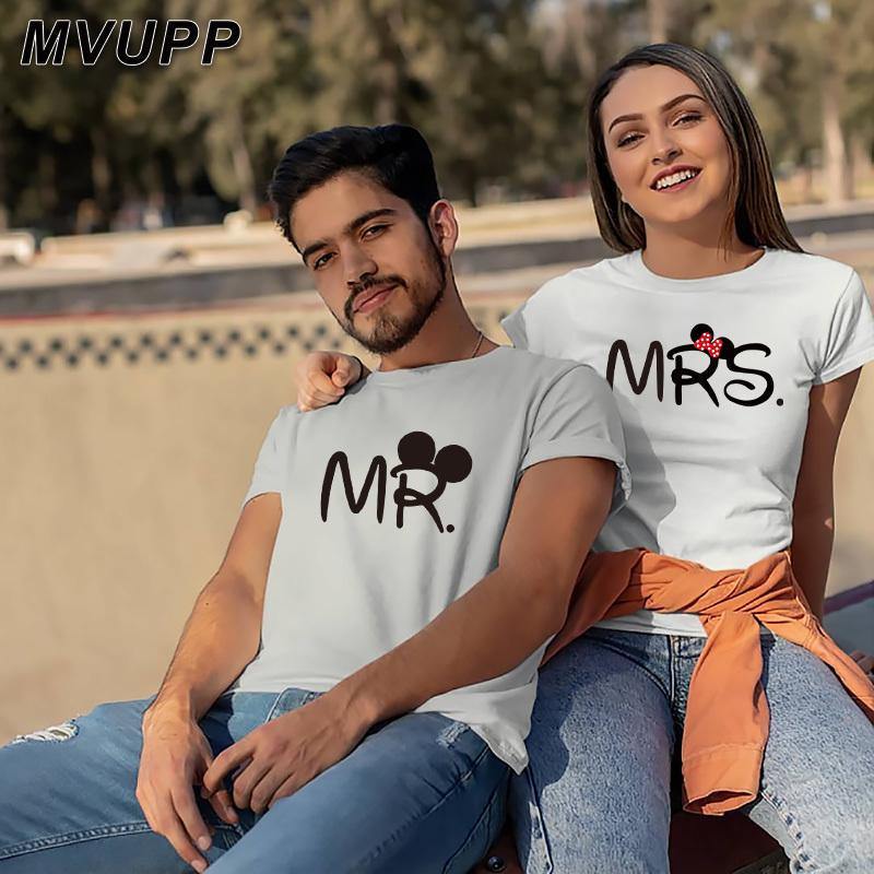 Bay MRS Çift T Gömlek Severler Koca Karısı Giyim Harajuku Eşleştirme Giyim Kadın Mektup Aşk Camisetas Verano Mujer Yaz C0220