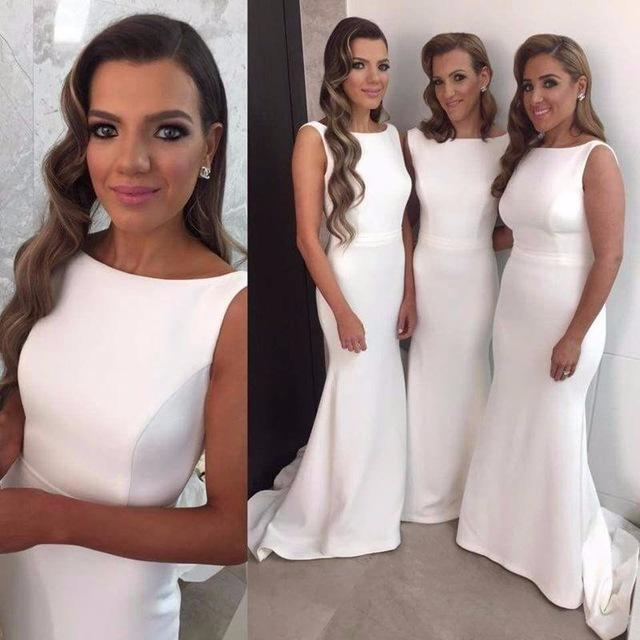 Cheap Simple Bridesmaid Dresses 2021 Sleeveless Satin Mermaid Sweep Train Custom Made Maid of Honor Gown Country Wedding Guest Wear vestidos