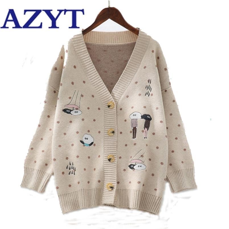 Azyt Bahar Sonbahar Nokta Karikatür Baskı Örgü Hırka Kadınlar V Boyun Uzun Kollu Gömlek Kadın Harajuku Kazak Coat Tops 210812