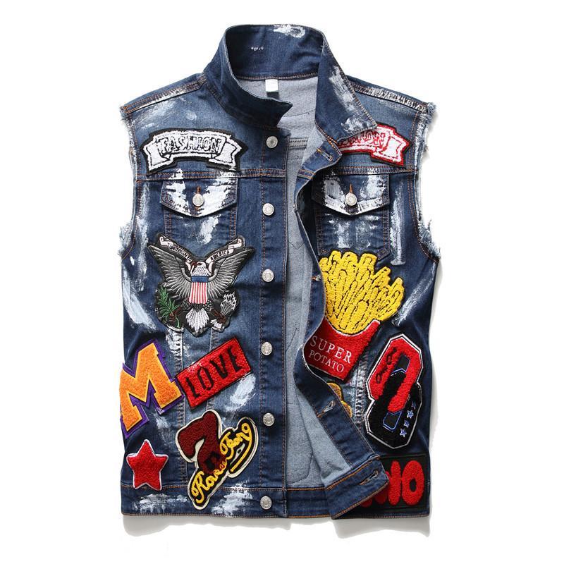 Yeni Erkekler Kafatası Harfleri Işlemeli Jean Top Moda Tankı Streetwear Kartal Patchwork Yelek Boyalı Jeans NCOV