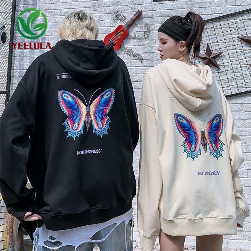 Otoño Invierno color mariposa sudadera hombres extra grande casual harajuku moda diseño diseño sudadera con capucha hip hop High Street 201127