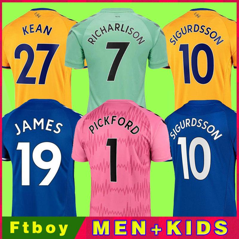 20 21 Jerseys de futebol James Allan Doucoure Camisa de futebol conjunto Goleiro 2020 2021 Kean Richarlison Goalie Tailândia homens Kit Kit uniformes