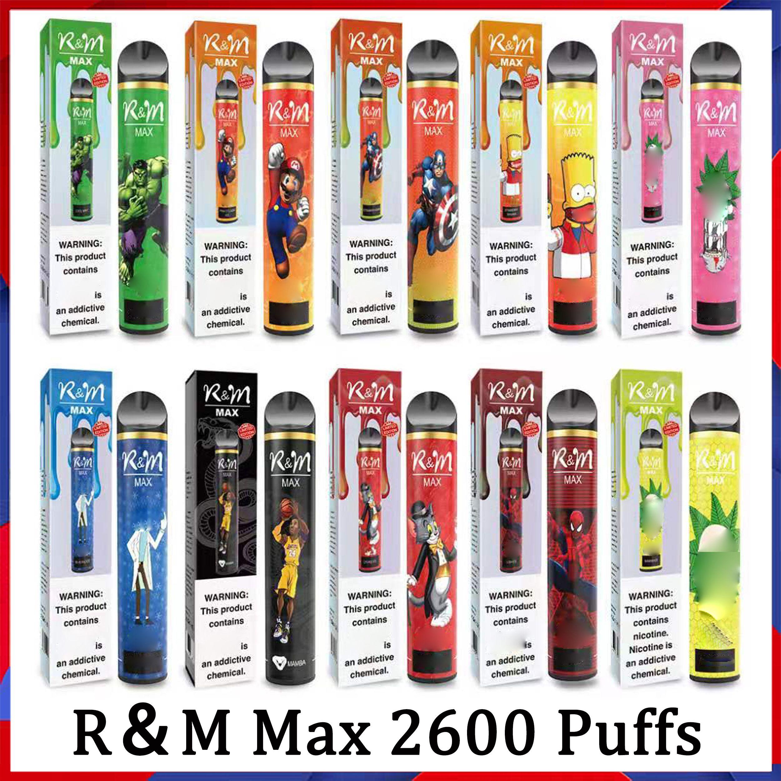 100% Orijinal R ve M Max Karikatür Elektronik Sigara 9ml 1300mAh 2600 Puffs 10 Renkler Tek Kullanımlık Vape Randm Dazzle Pro