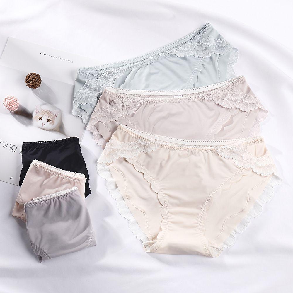 Летние тонкие ледяные талии женское нижнее белье Кружева сексуальное выдолбление студенческих хлопковых трусов