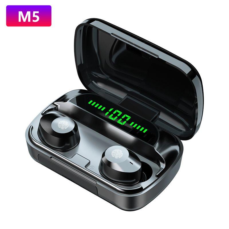 اللاسلكية اللاسلكية المتوافقة M5 سماعات ميني ستيريو باس سماعة سماعة الرياضة سماعة مع مربع شحن لفون xiaomi
