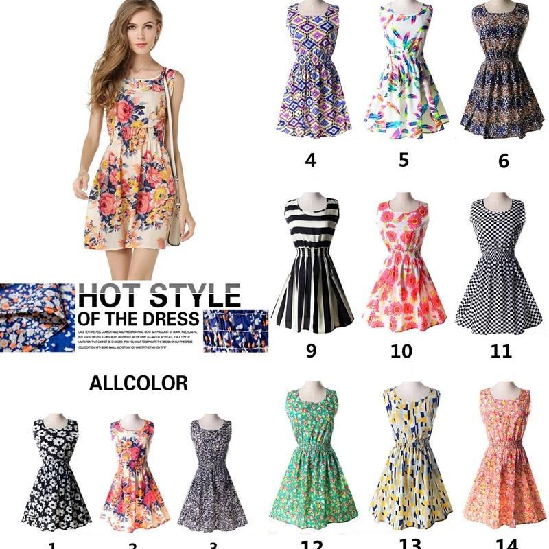 Commercio all'ingrosso estate stampa floreale abbigliamento da donna ragazze vestito senza maniche vestito moda signore vestiti casual 207