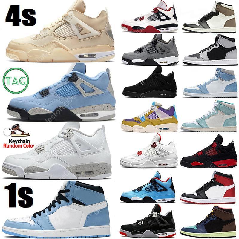 Basketbol ayakkabıları Hyper Royal 4 4s ayakkabı University Blue Mens Basketball Shoes 1 1s Sail Obsidian Silver Toe Black Cat Sports Women Trainers Sneakers