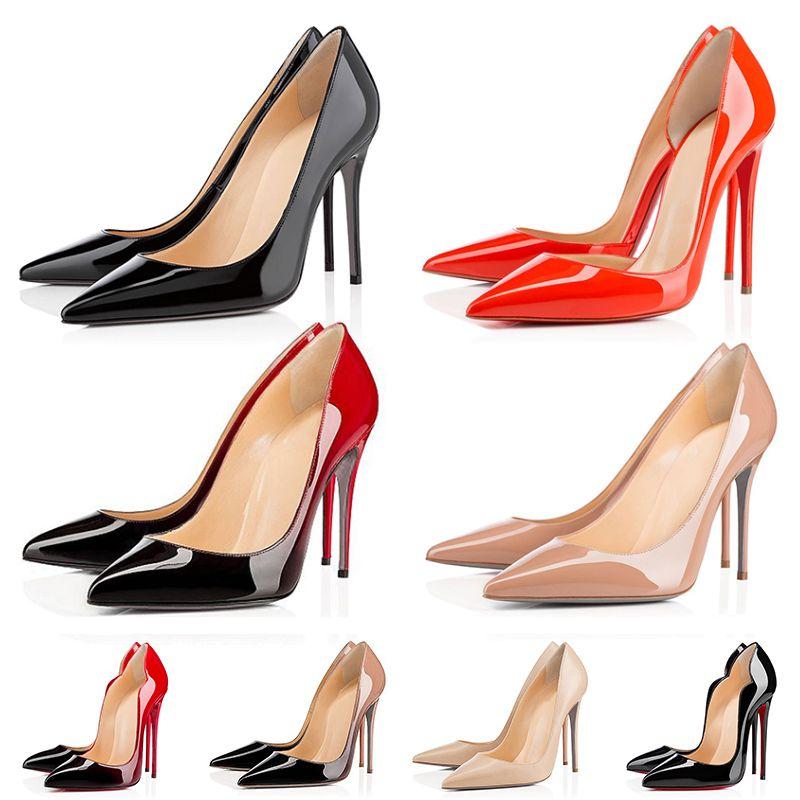 2021 Red Bottom Heels أحذية نسائية مع حقيبة غبار على الموضة 8 سم 10 سم 12 سم أحذية رياضية ثلاثية سوداء عارية للسيدات  أحذية