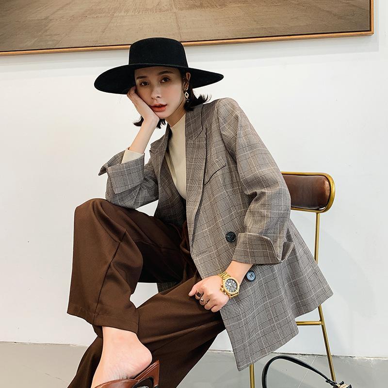 Куртка осень 2019 новая корейская свободная проверка женского британского стиля малый костюм