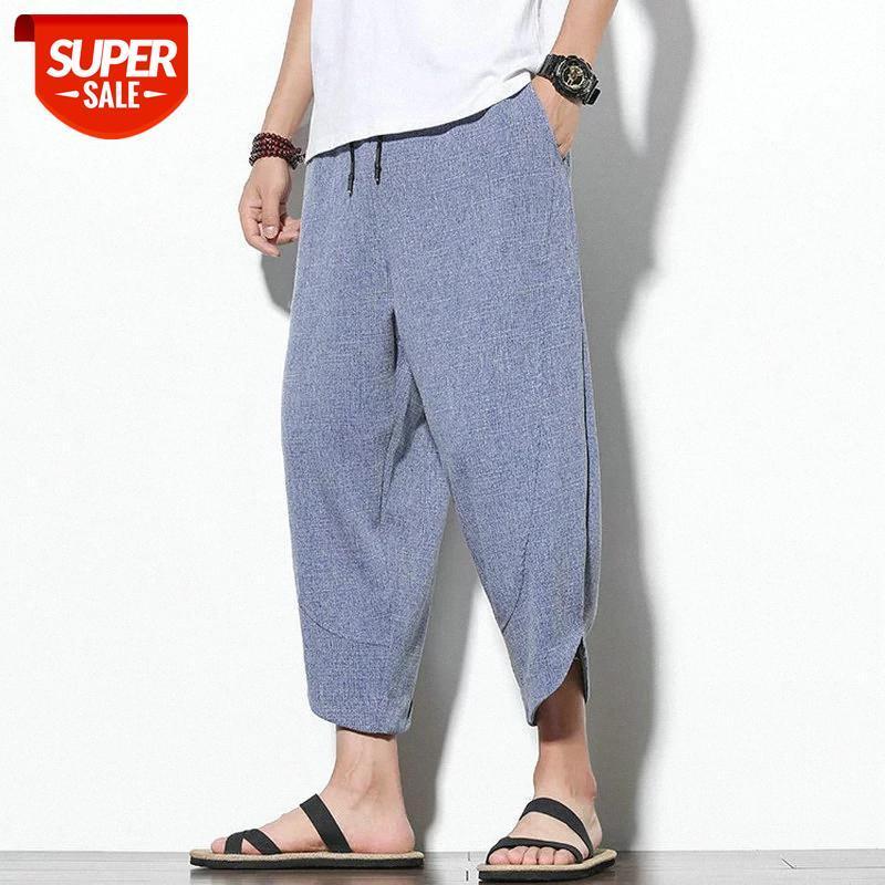 Homens de verão de luxo Harem Calças de lenha tornozelo de algodão # 9S93