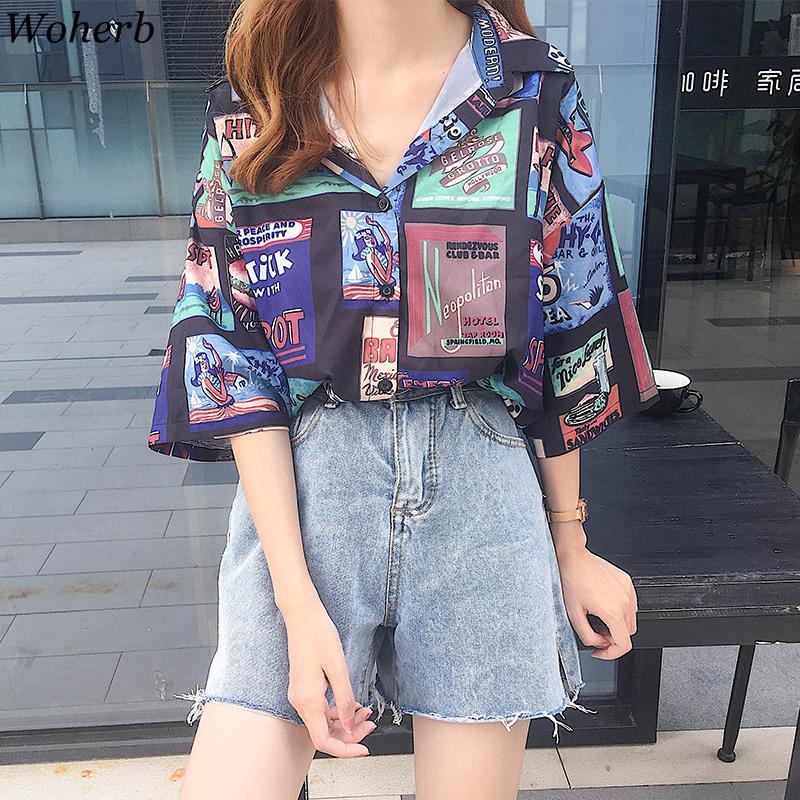 Woherb Summer Summer Blusa Oversized Donne Allentati Camicia Hip-Hop Vintage Graphics Print Harajuku Streetwear Signore Top Blusas 210226