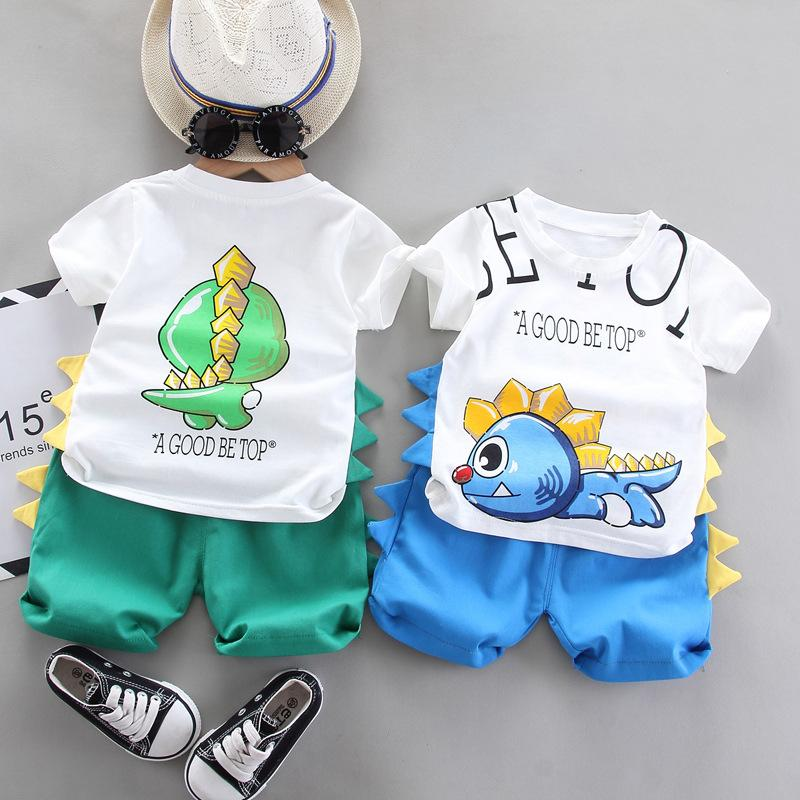 Boys Cartoon Clothing Sets 2021 Summer New Kids Dinosaur Outfits Children Printed Shorts Sleeve T-shirt + Shorts Two-piece Set C6893