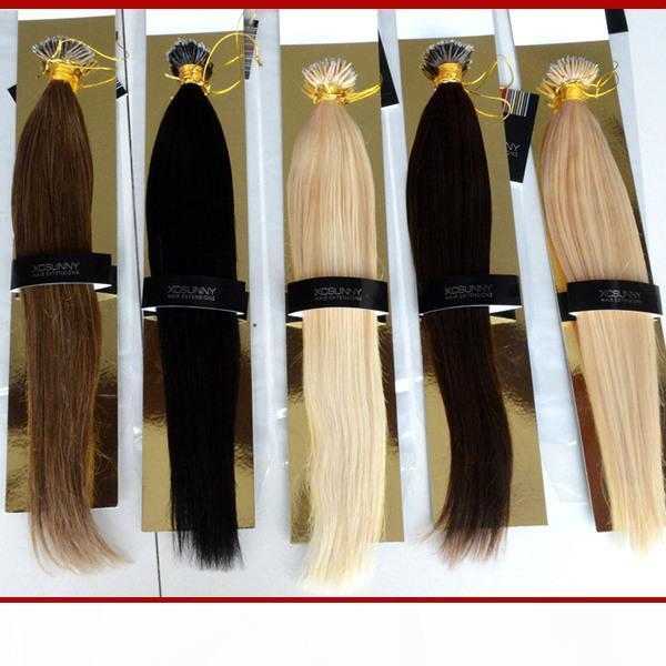 "Stock Nano Bead Hair Extensions 18""20"" 100g pk Nano Rings Human Hair Extensions 100% Human Indian Remy Hair + 100beads"