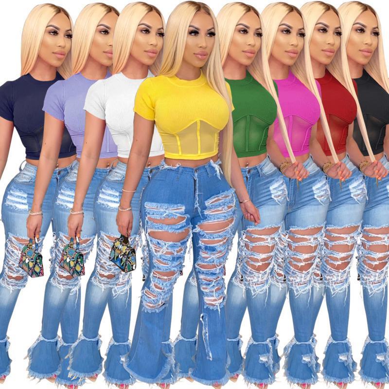 2021 Sexy Fashion Women T-shirt Summer New High Waist Tops Hollow Out Short Sleeve Tight Clothes