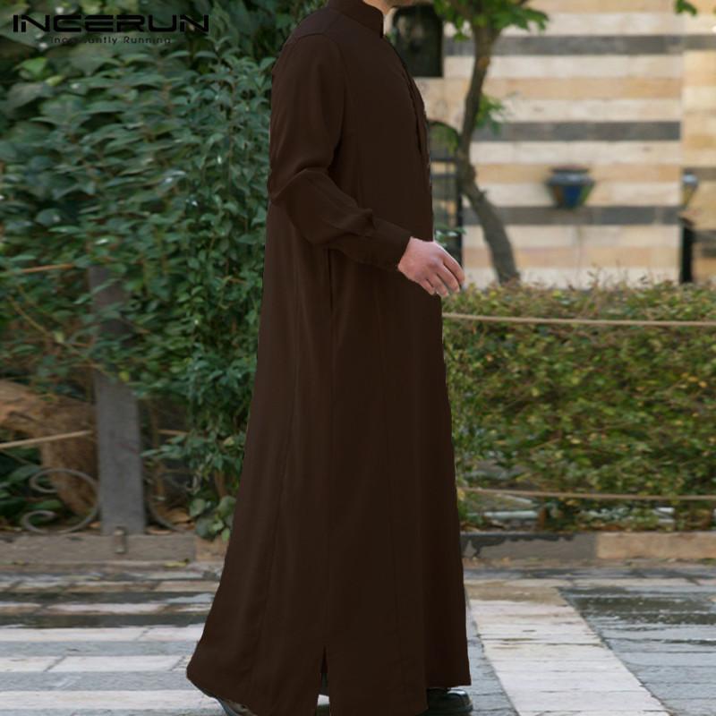 Hombres musulmanes islámicos Kaftan Árabe Vintage Manga larga Hombres Toboga Robe suelto Dubai Saudi Árabe Jafan Hombres Ropa 2021 S-5XL