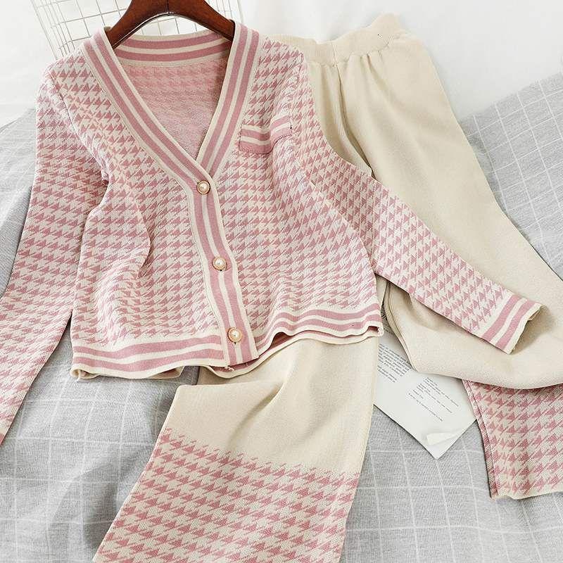 2021 Neue Frau Gestrickte Plaid Strickjacke V-Ausschnitt Sleeve Pullover Mantel + Breites Bein Lange Hose Anzug 2 Stück Sets Damen Outfits Winter FN8Y