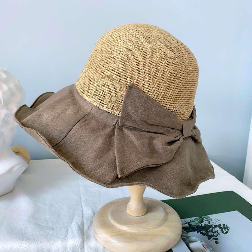 Простая ткань трава сращивание рыбацкой шляпы женской весной и летней защиты от солнца соломенная шляпа соломенная шляпа боунт универсальный ручной крючок шляпа бассейна