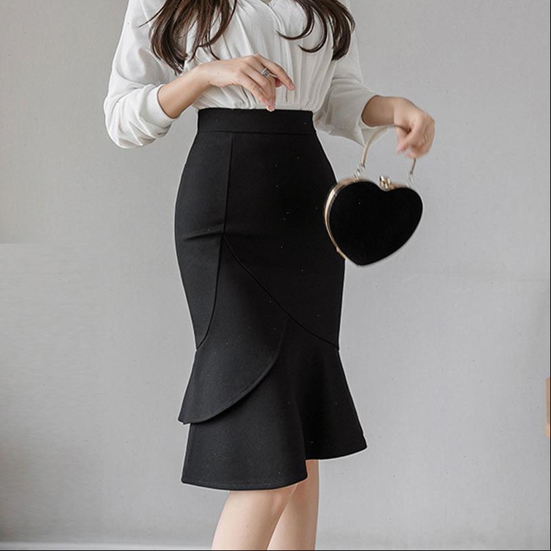 Artı Boyutu Siyah Kırmızı Etekler Bayan 2021 Casual Yaz Etek Yüksek Bel Ofis Bayan Seksi Ruffles Kırmızı Kalem Etek Jupe Femme