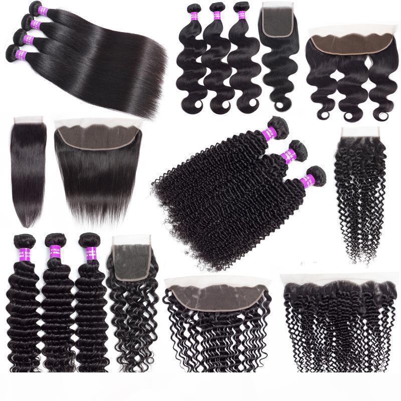 9A Brezilyalı Ucuz İnsan Saç Dokuma Demetleri Kapatma Ile Derin Dalga Kinky Kıvırcık Saç Uzantıları Bakire Saç Demetleri Ile 13x4 Dantel Frontal