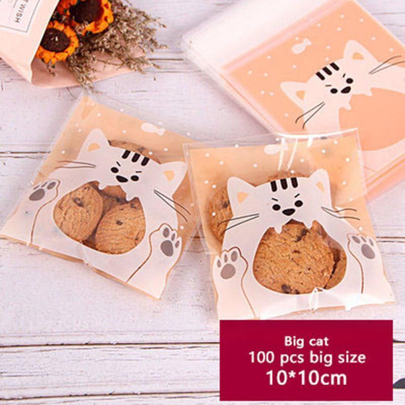 Envoltura de regalo 100 unids cookies autoadhesivo envasado bolsa naranja fondo helado gato boca jabón galletas boda fiesta de cumpleaños