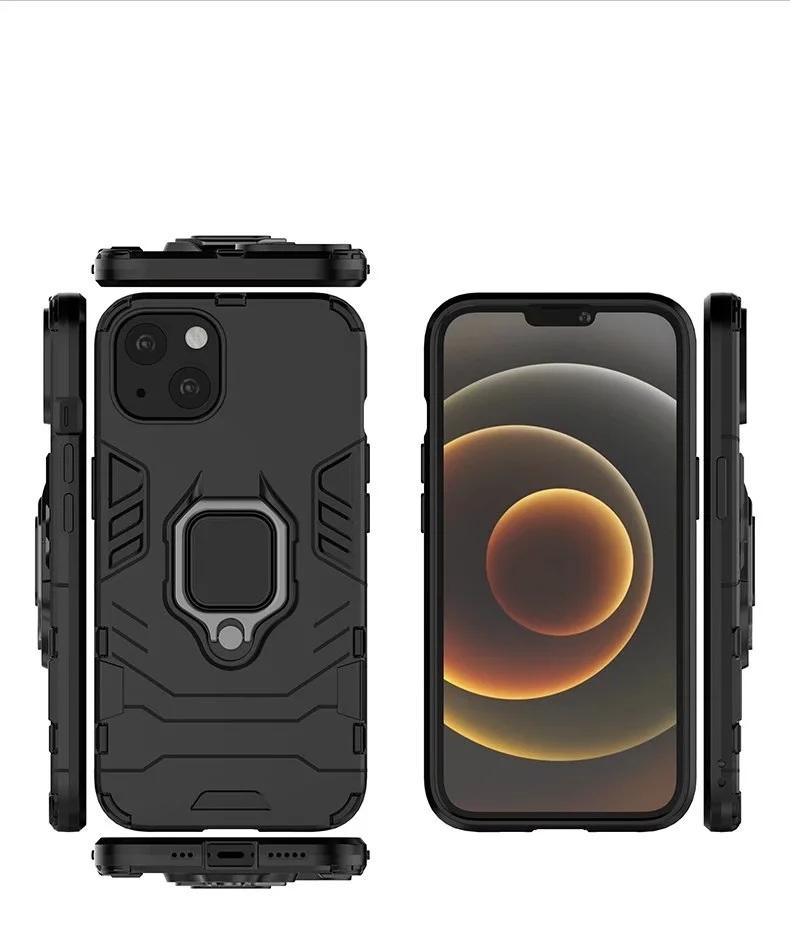 Ringhouder Kickstand Cover Cases Armor Rugged Dual Layer voor iPhone 13 Pro max 12 11 50 stks / partij