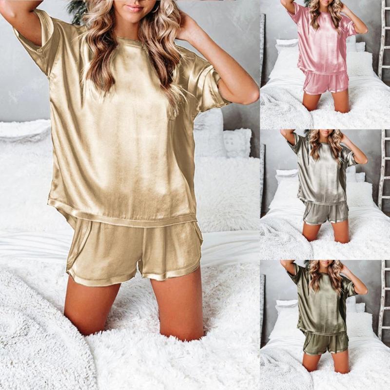 Женские трексуиты Дамы Сатин Silk Pajama наборы O-шеи с коротким рукавом Лучшие свободные шорты Pajamas домашний костюм лаундж одежда Pijama Femenino