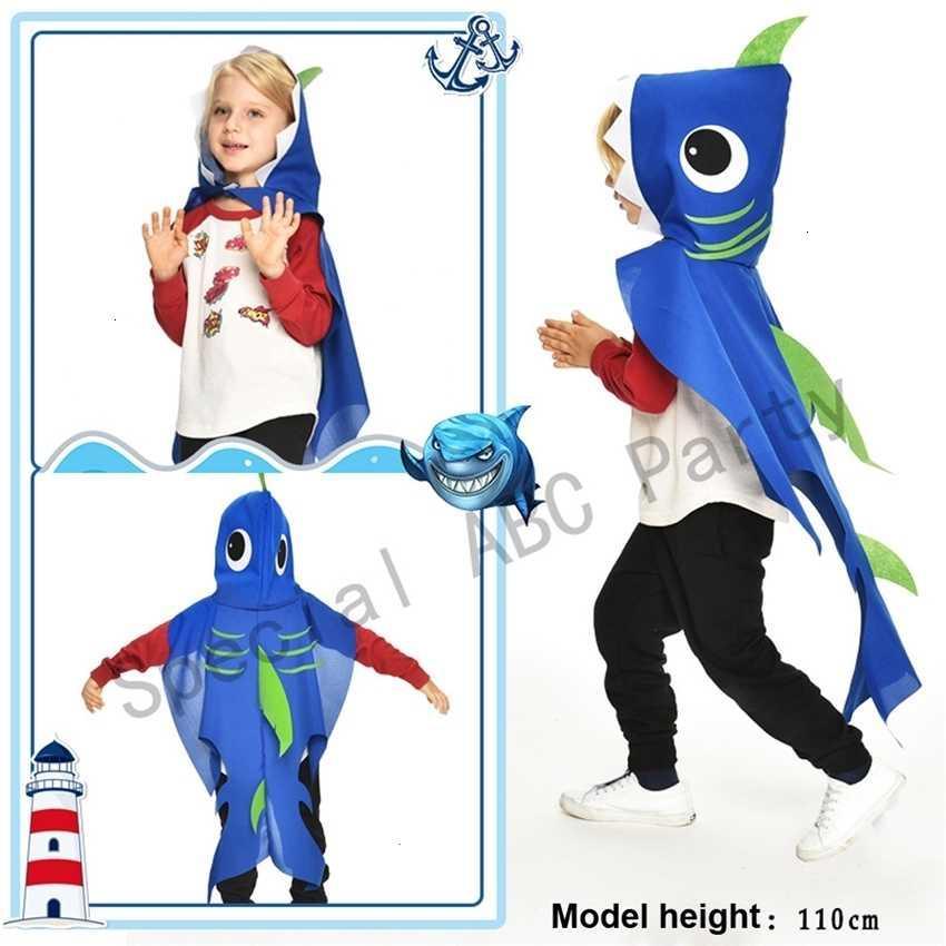 Garçons pour filles Shark Cosplay Cape avec fournitures Masques Fête d'anniversaire Favoris Enfants Costume Holloween