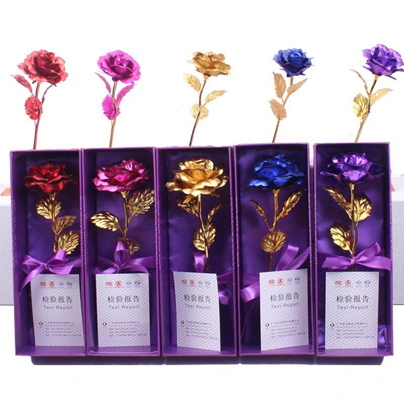 En boîte artificielle longue tige fleur 24k doré plated rose cadeaux de rose pour l'amant de mariage de Noël Saint-Valentin Day Décoration de la maison