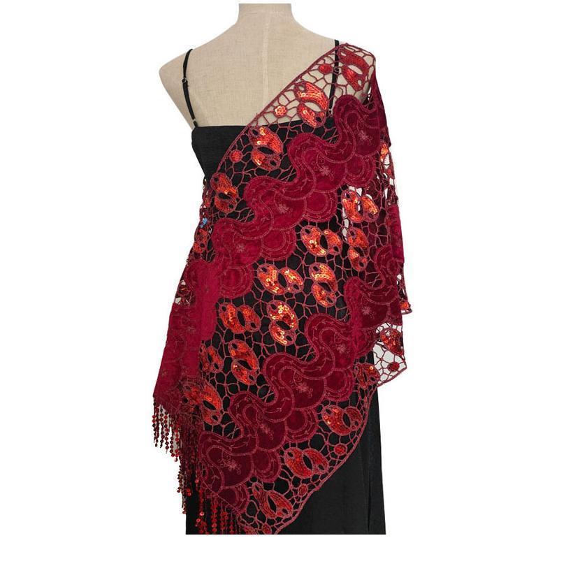 Sequins Tassels Shawl Female 185*52cm Shiny Bridal Bridesmaids Elegant Embroidered Wedding Party Evening Dresses Acc jlliwt