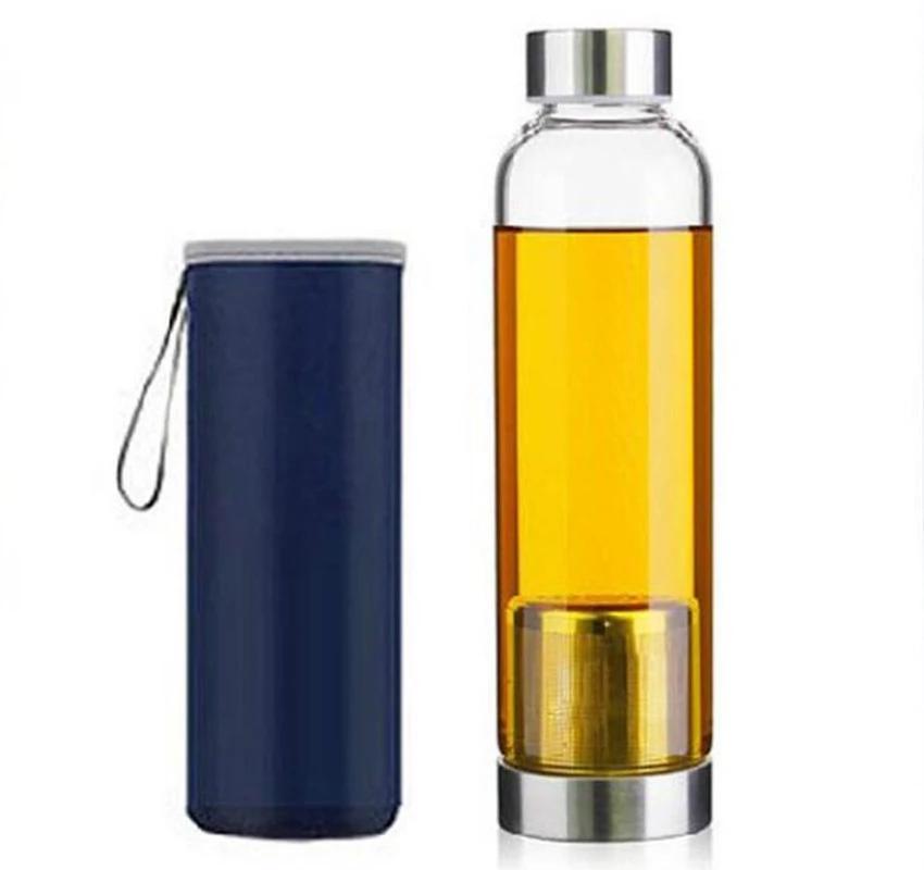 زجاج زجاجة ماء مع حقيبة واقية المحمولة زجاجات شاي شفاف شرب الرياضة لشرب السفر 550 مل