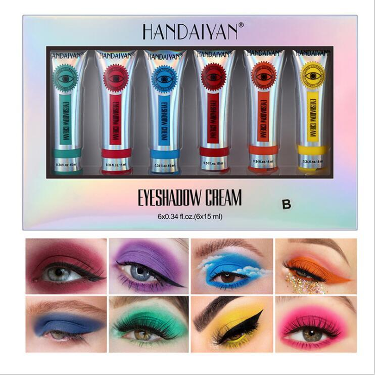 Handaiyan 15ML ماتي السائل ظلال اللون المحمولة اللوحة متعددة الوظائف التعبئة الليزر الوردي ظلال العيون