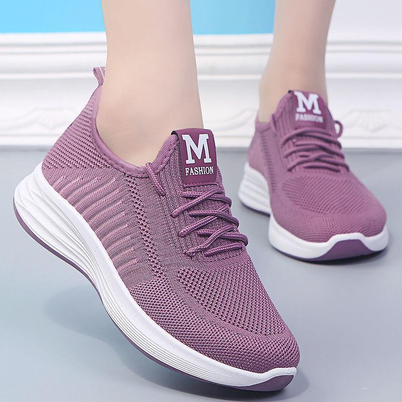 2021 Moda Kadınlar Rahat Sneakers Ayakkabı Kadın Sinek Örgü Örgü Nefes Ve Rahat Düz Ayakkabı Boyutu 36-40