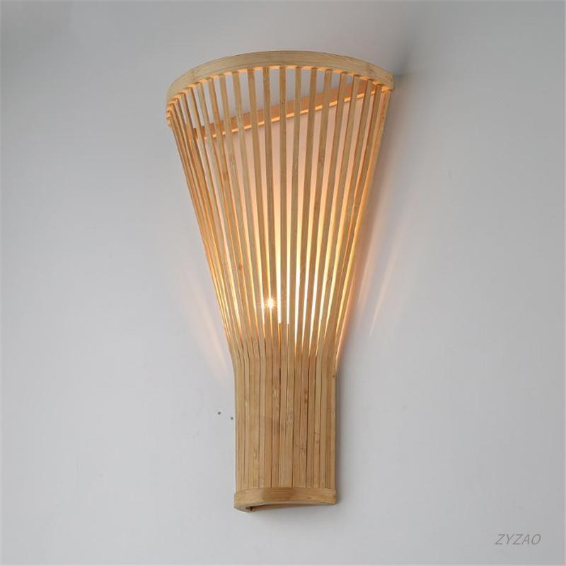 Сельское украшение Bamboo E27 Настенный ламп Креативный сад Вура Настенная Светлая ферма Дом Отель Лестница Корридор Крытый декор Лампа