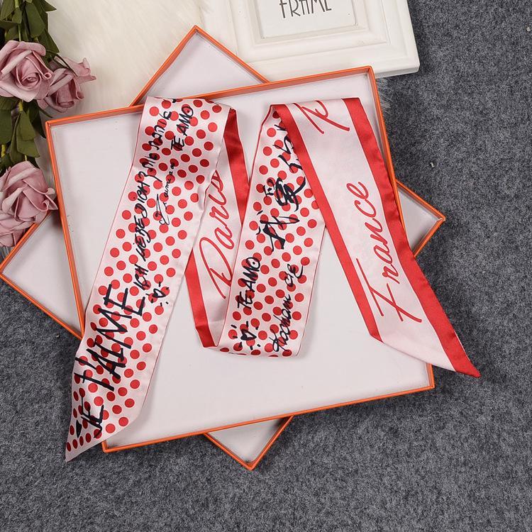 Luxury Graffiti Scarf Printing with full imitation silk scarf arm bag handle small silk ribbon scarf wholesale