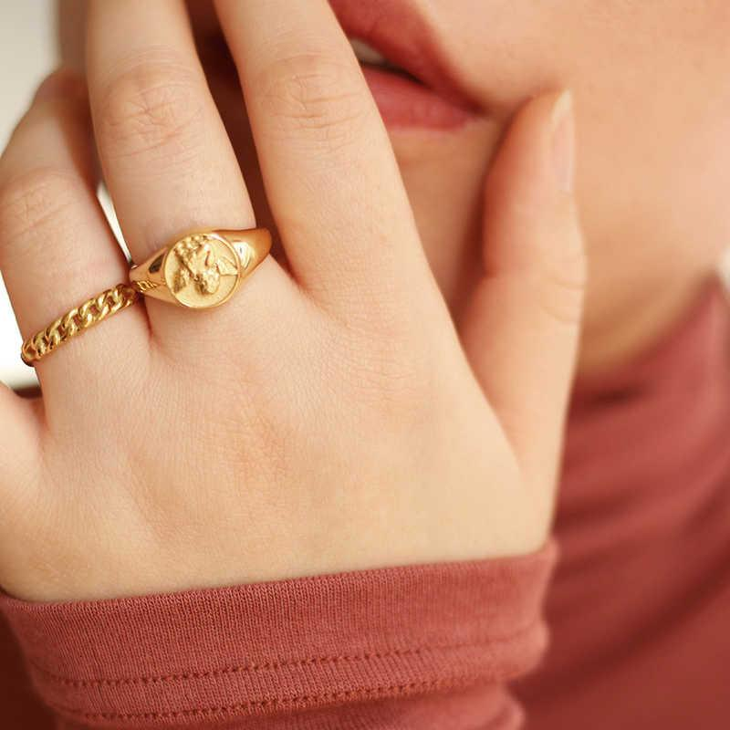 2021 impermeable acero inoxidable de 18 k plateado estéreo pequeño alas ángulo anillo de sello hueco trenzado chain anillos de oro para mujeres