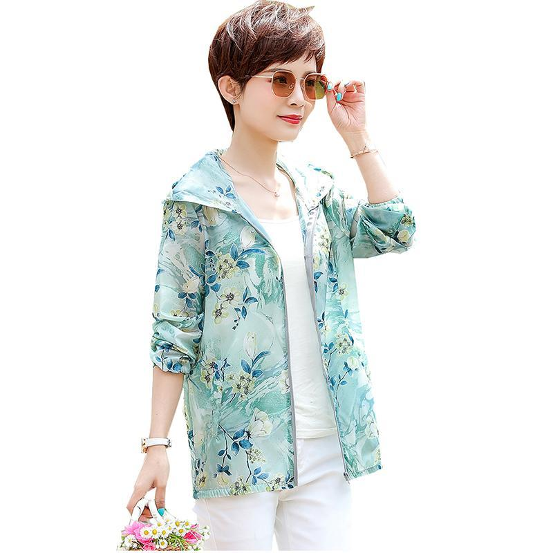 Women's Trench Coats Mother Sun Protection Clothing Women Jacket Long Sleeve Breathable Thin Windbreaker Lady Outerwear Oversize Summer