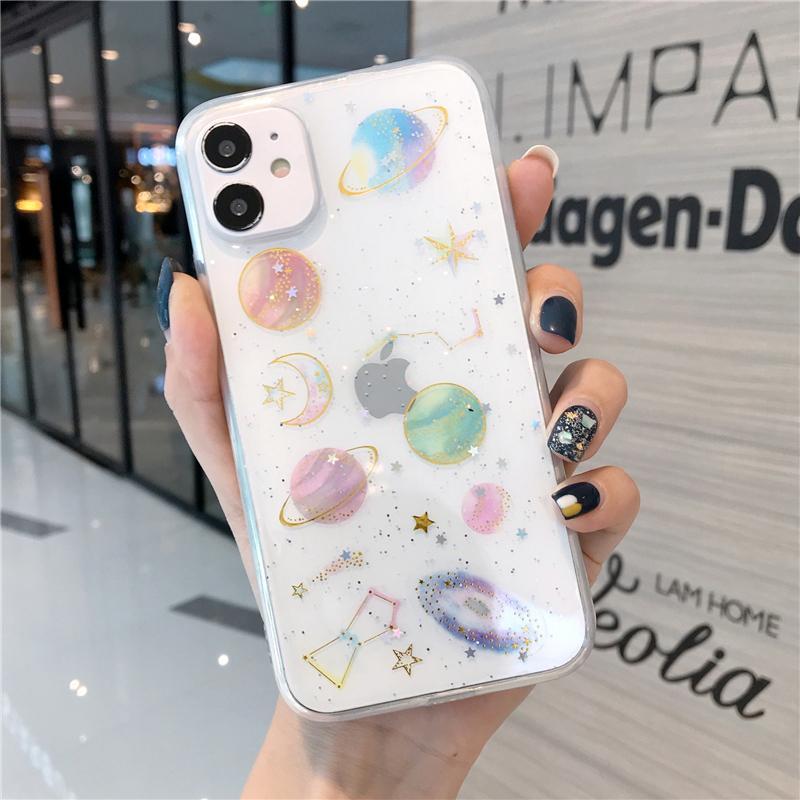 IPhone 12 Pro Kılıf Gezegen Glitter Yıldız Temizle Telefon Kılıfı Için iPhone 12 11 Pro Max XR X XS Max 7 8 Artı Yumuşak Epoksi TPU Kapak