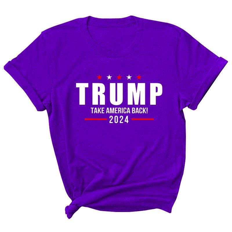 15 Styles Trump 2024 T-shirt T-shirt Impression T-shirt rond Col Casual Etats-Unis Élection Présidentielle Trump Pull à manches courtes OOE4927