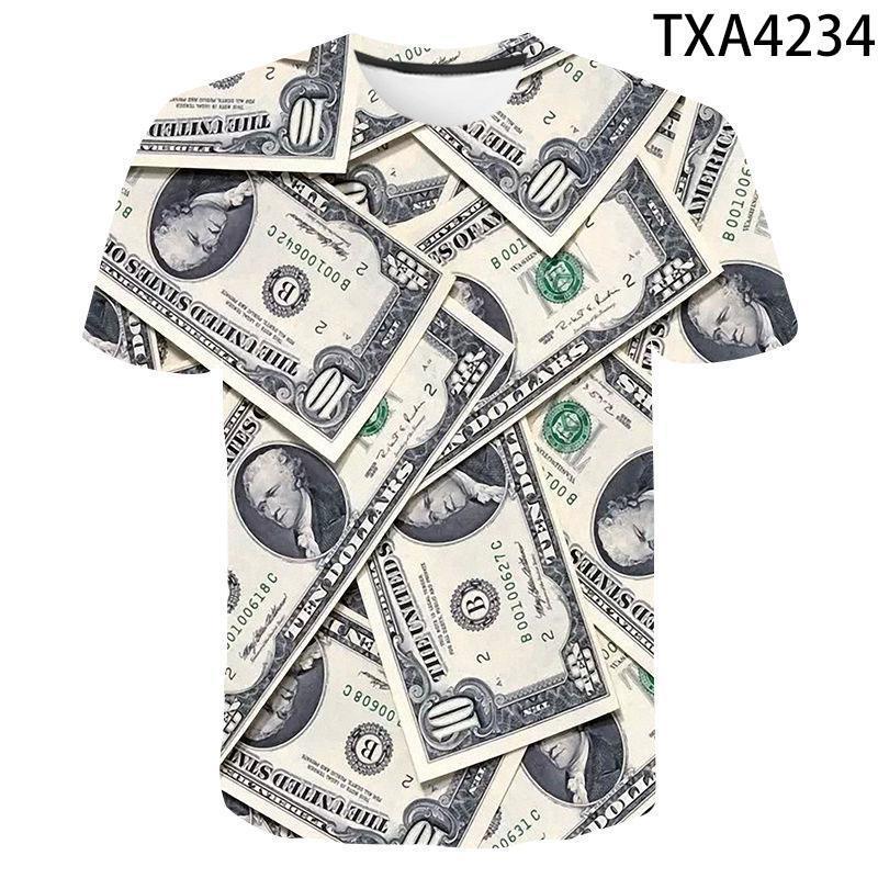 Männer T-shirts Dollar drucken T -Ee 2021 Sommer 3D T-shirt Männer Frauen tragen Material weich und com Tops Jungenmädchen lustiges T-Shirt