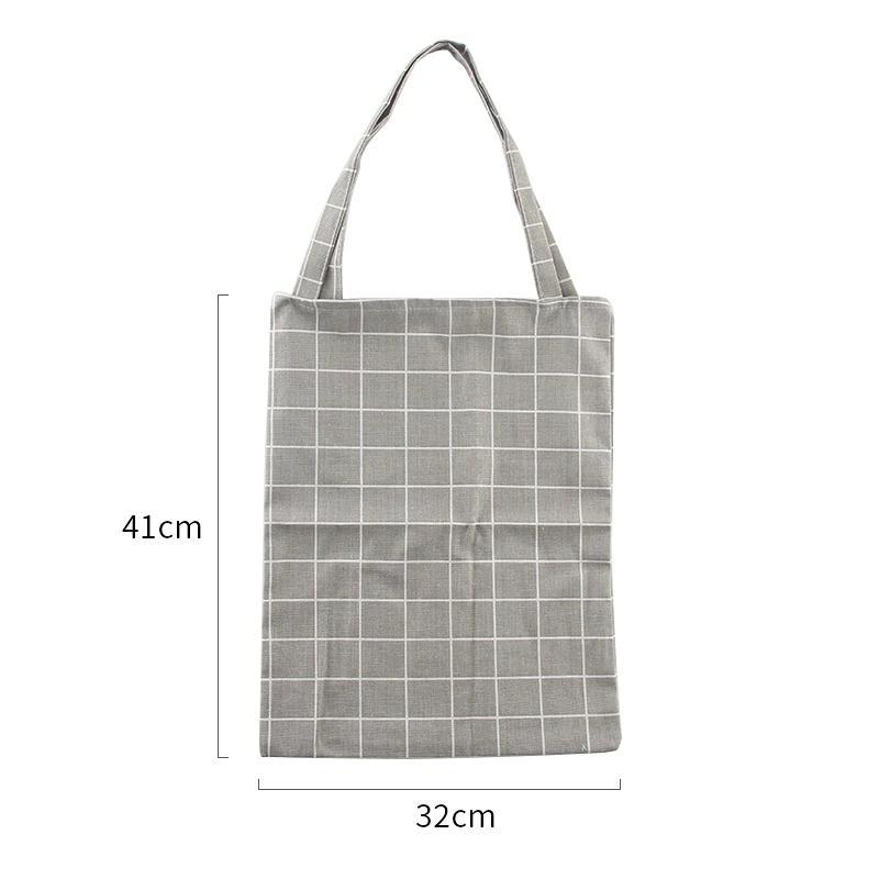 Neue Mode-Stil Leinwand-Einkaufstasche Eco-Einkaufstasche Tägliche Verwendung Faltbare Handtasche Große Kapazität Plaid Canvas Tote Für Frauen Weibliche Shopper Tasche